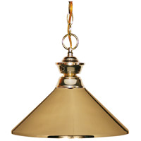 Signature 1 Light 14 inch Polished Brass Pendant Ceiling Light in Polished Brass Metal