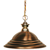 Z-Lite 100701PB-SAC Shark 1 Light 16 inch Polished Brass Island Light Ceiling Light in 15.75, Stepped Antique Copper