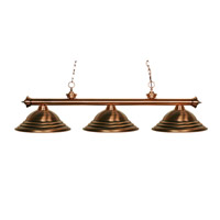 Z-Lite 100703AC-SAC Riviera 3 Light 56 inch Antique Copper Billiard Ceiling Light in Stepped Antique Copper photo thumbnail