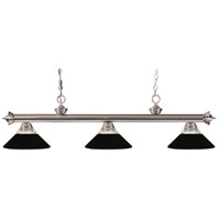 Z-Lite 100703BN-RMB Riviera 3 Light 53 inch Brushed Nickel Island/Billiard Ceiling Light in 14 Clear Ribbed and Matte Black Glass and Steel