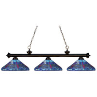 Riviera 3 Light 56 inch Bronze Island Light Ceiling Light in Multi Colored Tiffany Glass (D16)