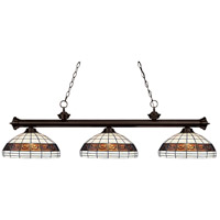 Grande 3 Light 54 inch Bronze Island Light Ceiling Light in Multi Colored Tiffany Glass (F14-1)