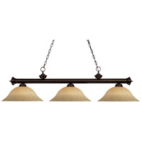 Riviera 3 Light 56 inch Bronze Billiard Ceiling Light in Golden Mottle