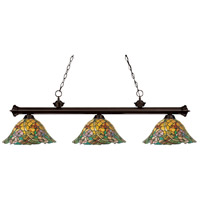 Z-Lite 100703BRZ-Z14-18 Eden 3 Light 54 inch Bronze Island/Billiard Ceiling Light in Multi Colored Tiffany Glass (16) photo thumbnail