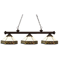 Z-Lite 100703BRZ-Z16-30 Riviera 3 Light 56 inch Bronze Island Light Ceiling Light in Multi Colored Tiffany Glass (30)