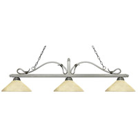 Z-Lite 114-3AS-AGM14 Melrose 3 Light 58 inch Antique Silver Island/Billiard Ceiling Light in Golden Mottle Angular