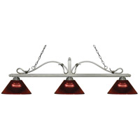 Melrose 3 Light 58 inch Antique Silver Island Light Ceiling Light in Acrylic Burgundy