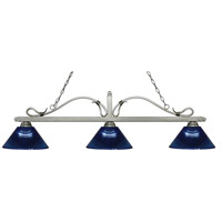 Melrose 3 Light 58 inch Antique Silver Island Light Ceiling Light in Acrylic Dark Blue