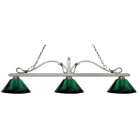 Z-Lite 114-3AS-ARG Melrose 3 Light 58 inch Antique Silver Island/Billiard Ceiling Light in Acrylic Green