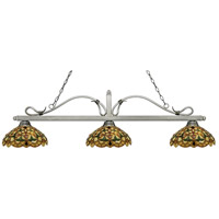 Melrose 3 Light 58 inch Antique Silver Island Light Ceiling Light in Multi Colored Tiffany Glass (C14)