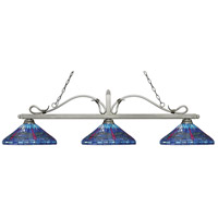 Melrose 3 Light 61 inch Antique Silver Island Light Ceiling Light in Multi Colored Tiffany Glass (D16)