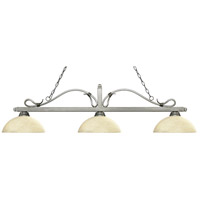 Z-Lite 114-3AS-DGM14 Melrose 3 Light 58 inch Antique Silver Island/Billiard Ceiling Light in Golden Mottle Dome