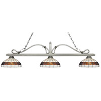 Melrose 3 Light 58 inch Antique Silver Island Light Ceiling Light in Multi Colored Tiffany Glass (F14-1)