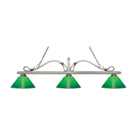 Melrose 3 Light 58 inch Antique Silver Island Light Ceiling Light in Green Cased