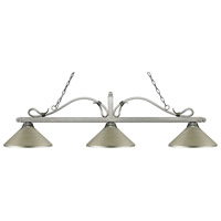 Melrose 3 Light 58 inch Antique Silver Island Light Ceiling Light in Antique Silver Metal
