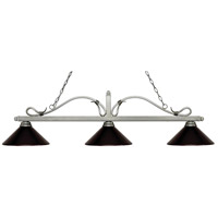 Z-Lite 114-3AS-MBRZ Melrose 3 Light 58 inch Antique Silver Island/Billiard Ceiling Light in Bronze Metal