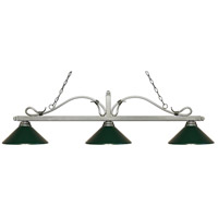 Melrose 3 Light 58 inch Antique Silver Island Light Ceiling Light in Dark Green Metal