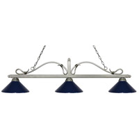 Z-Lite 114-3AS-MNB Melrose 3 Light 58 inch Antique Silver Island/Billiard Ceiling Light in Navy Blue Metal