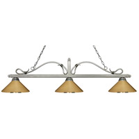 Melrose 3 Light 58 inch Antique Silver Island Light Ceiling Light in Polished Brass Metal