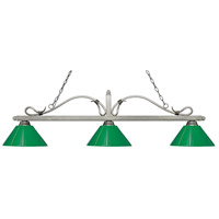 Z-Lite 114-3AS-PGR Melrose 3 Light 58 inch Antique Silver Island/Billiard Ceiling Light in Green Plastic