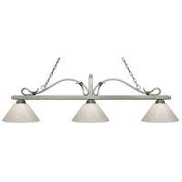 Melrose 3 Light 58 inch Antique Silver Island Light Ceiling Light in White Plastic