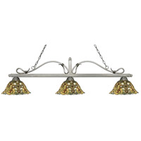 Melrose 3 Light 58 inch Antique Silver Island Light Ceiling Light in Multi Colored Tiffany Glass (R14A)