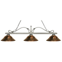 Z-Lite 114-3AS-SAC Melrose 3 Light 60 inch Antique Silver Island/Billiard Ceiling Light in Stepped Antique Copper