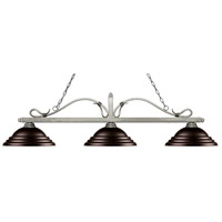 Z-Lite 114-3AS-SBRZ Melrose 3 Light 60 inch Antique Silver Island/Billiard Ceiling Light in Stepped Bronze