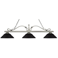 Z-Lite 114-3AS-SMB Melrose 3 Light 60 inch Antique Silver Island Light Ceiling Light in Stepped Matte Black