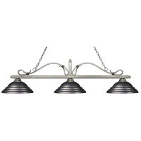 Z-Lite 114-3AS-SOB Melrose 3 Light 60 inch Antique Silver Island Light Ceiling Light in Stepped Olde Bronze
