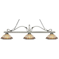 Z-Lite 114-3AS-Z14-35 Melrose 3 Light 58 inch Antique Silver Island Light Ceiling Light in Multi Colored Tiffany Glass (35)