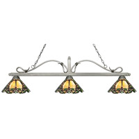 Z-Lite 114-3AS-Z14-37 Melrose 3 Light 58 inch Antique Silver Island Light Ceiling Light in Multi Colored Tiffany Glass (37)