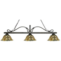 Z-Lite 114-3GB-R14A Melrose 3 Light 58 inch Golden Bronze Island Light Ceiling Light in Multi Colored Tiffany Glass (R14A)