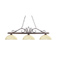 Z-Lite 119-3-WB-DGM14 Crown 3 Light 53 inch Weathered Bronze Island Light Ceiling Light in Golden Mottle Dome