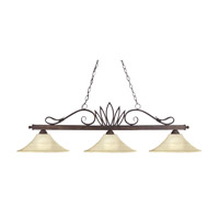 Crown 3 Light 55 inch Weathered Bronze Billiard Ceiling Light in Golden Mottle Flared