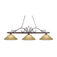 Z-Lite Crown 3 Light Billiard in Weathered Bronze 119-3-WB-GSW16