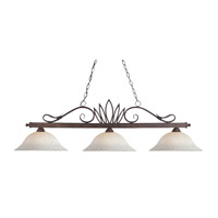 Crown 3 Light 55 inch Weathered Bronze Island Light Ceiling Light in White Mottle