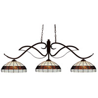 Phoenix 3 Light 54 inch Bronze Billiard Ceiling Light in 14, Multi Colored Tiffany Glass (F14-1)