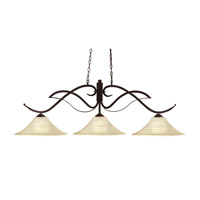 Phoenix 3 Light 54 inch Bronze Island Light Ceiling Light in 16, Golden Mottle Flared