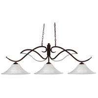 Phoenix 3 Light 55 inch Bronze Island Light Ceiling Light in White Mottle Fluted, 16.25