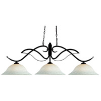 Phoenix 3 Light 54 inch Bronze Billiard Ceiling Light in 16, White Mottle