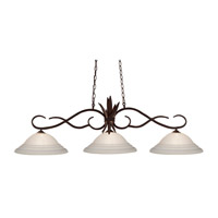 Z-Lite 129BRZ-SW16 Chicago 3 Light 55 inch Bronze Island Light Ceiling Light in 16, White Swirl