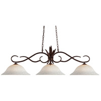 Z-Lite 129BRZ-WM16 Chicago 3 Light 55 inch Bronze Island Light Ceiling Light in 16, White Mottle