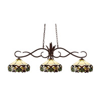Chicago 3 Light 53 inch Bronze Island Light Ceiling Light in 14, Multi Colored Tiffany Glass (33)