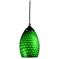 Z-Lite 131-GREEN Jazz 1 Light 5 inch Sand Black Mini Pendant Ceiling Light in Green