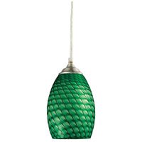 Jazz 1 Light 5 inch Brushed Nickel Mini Pendant Ceiling Light in Green