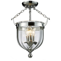 Warwick 3 Light 11 inch Chrome Semi-Flush Mount Ceiling Light