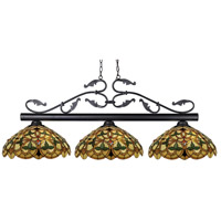 Bourbon 3 Light 53 inch Bronze Island Light Ceiling Light in 14, Multi Colored Tiffany Glass (C14)