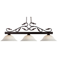 Bourbon 3 Light 53 inch Bronze Island Light Ceiling Light in White Mottle, 14