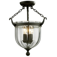 Warwick 3 Light 11 inch Bronze Semi Flush Mount Ceiling Light